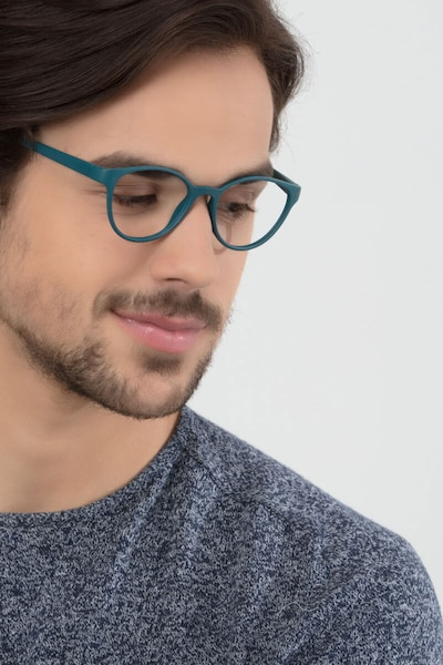 Palette Matte Green Plastic Eyeglass Frames for Men from EyeBuyDirect, Front View