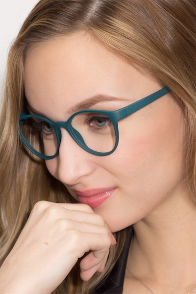 Palette Matte Green Plastic Eyeglass Frames for Women from EyeBuyDirect