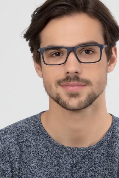 Persian Matte Navy Plastic Eyeglass Frames for Men from EyeBuyDirect, Front View