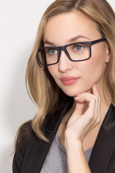 Persian Matte Navy Plastic Eyeglass Frames for Women from EyeBuyDirect, Front View