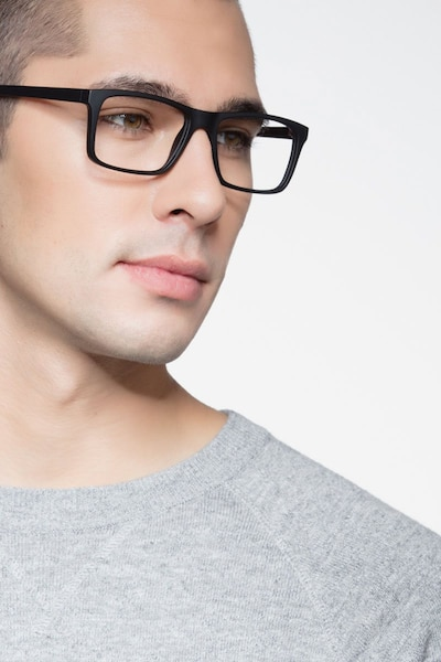 Persian Matte Black Plastic Eyeglass Frames for Men from EyeBuyDirect, Front View