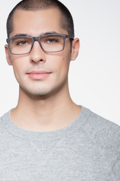 Persian Matte Gray Plastic Eyeglass Frames for Men from EyeBuyDirect, Front View