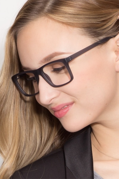 Persian Matte Gray Plastic Eyeglass Frames for Women from EyeBuyDirect