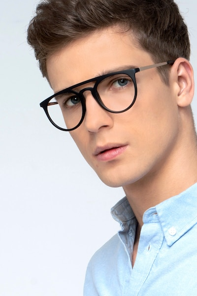 Fiasco Matte Black Plastic Eyeglass Frames for Men from EyeBuyDirect, Front View