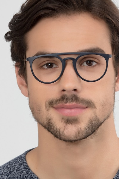 Fiasco Matte Navy Plastic Eyeglass Frames for Men from EyeBuyDirect