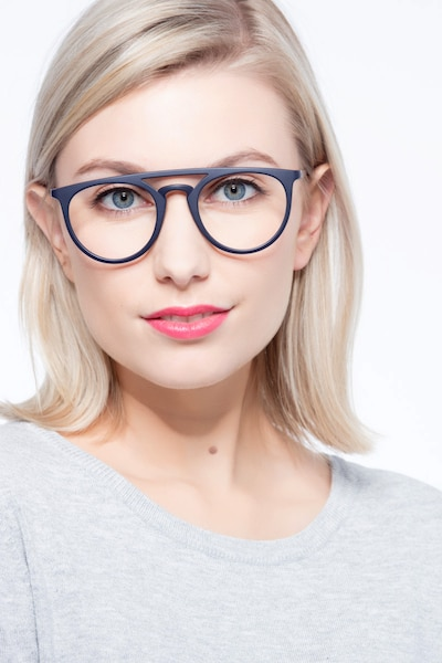 Fiasco Matte Navy Plastic Eyeglass Frames for Women from EyeBuyDirect, Front View