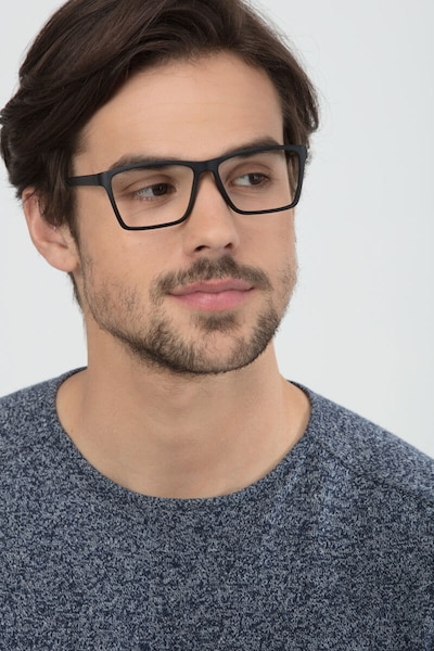 Equation Matte Black Plastic Eyeglass Frames for Men from EyeBuyDirect, Front View