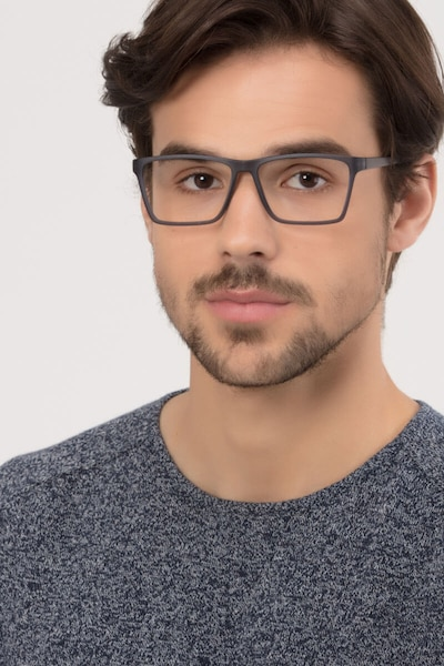 Equation Matte Gray Plastic Eyeglass Frames for Men from EyeBuyDirect, Front View