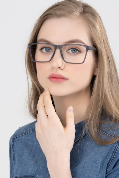 Equation Matte Gray Plastic Eyeglass Frames for Women from EyeBuyDirect, Front View