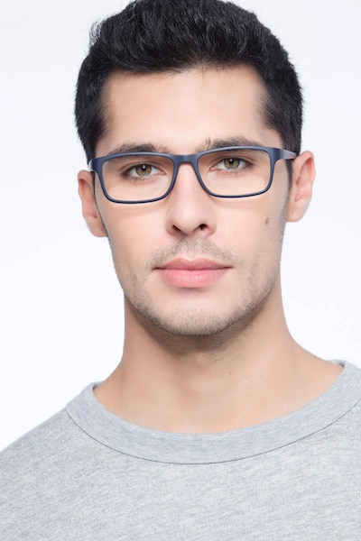 Firefly Matte Navy Plastic Eyeglass Frames for Men from EyeBuyDirect, Front View