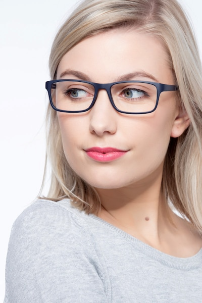 Firefly Matte Navy Plastic Eyeglass Frames for Women from EyeBuyDirect, Front View