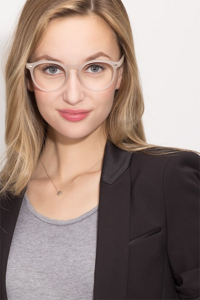 Peninsula Matte White Plastic Eyeglass Frames for Women from EyeBuyDirect, Front View