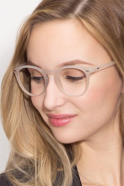 Peninsula Matte White Plastic Eyeglass Frames for Women from EyeBuyDirect