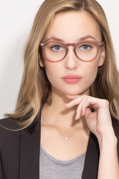 Peninsula Matte Redwood Plastic Eyeglass Frames for Women from EyeBuyDirect, Front View