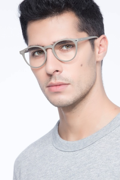 Peninsula Matte Green Plastic Eyeglass Frames for Men from EyeBuyDirect, Front View