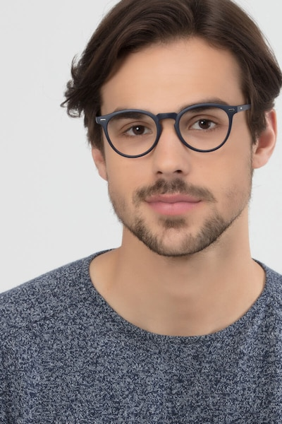 Peninsula Matte Navy Plastic Eyeglass Frames for Men from EyeBuyDirect, Front View