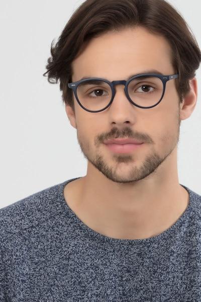 Peninsula Matte Navy Plastique Montures de Lunettes pour Hommes d'EyeBuyDirect, Vue de Face