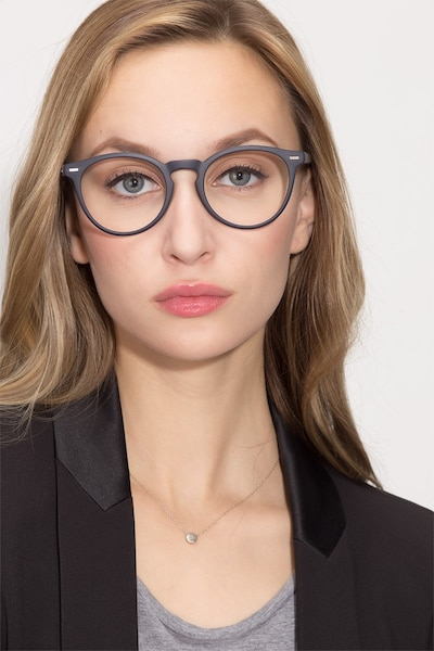 Peninsula Matte Navy Plastic Eyeglass Frames for Women from EyeBuyDirect, Front View
