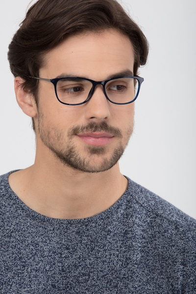 Oliver Navy Plastic Eyeglass Frames for Men from EyeBuyDirect, Front View