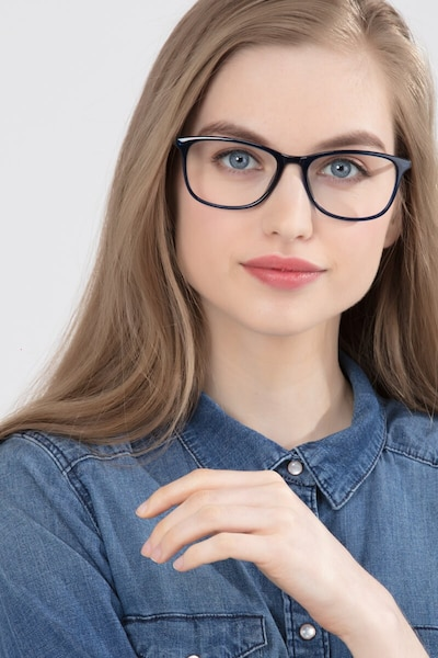 Oliver Navy Plastic Eyeglass Frames for Women from EyeBuyDirect