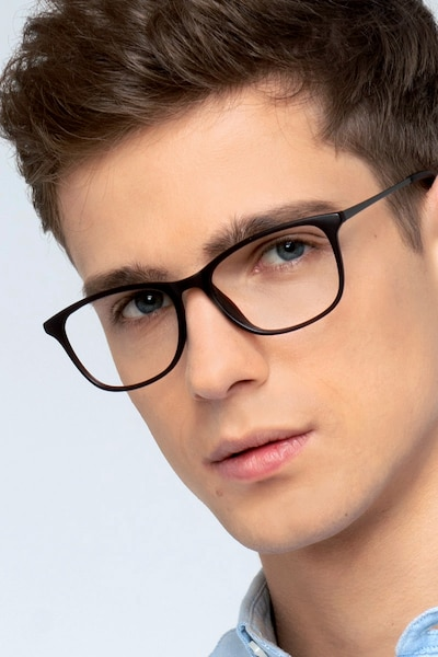 Oliver Matte Brown Plastic Eyeglass Frames for Men from EyeBuyDirect