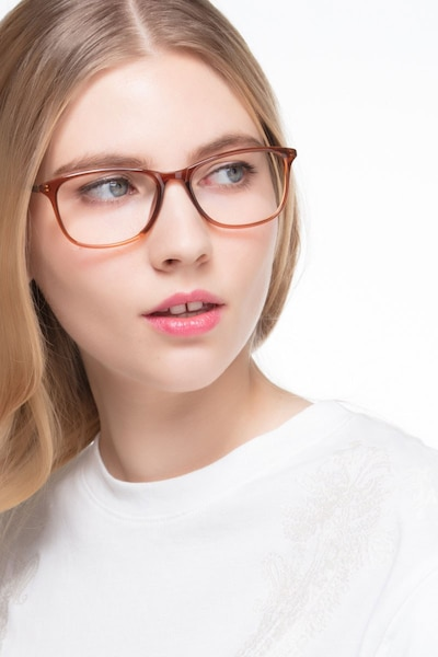 Oliver Brown Plastic Eyeglass Frames for Women from EyeBuyDirect, Front View
