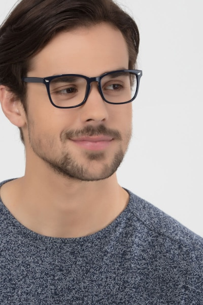 Uptown Navy Plastic Eyeglass Frames for Men from EyeBuyDirect, Front View