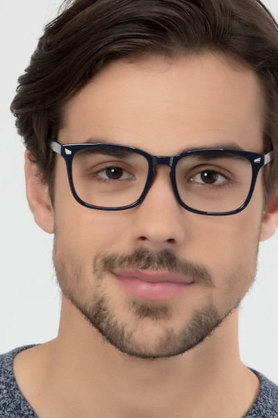 Uptown Navy Plastic Eyeglass Frames for Men from EyeBuyDirect