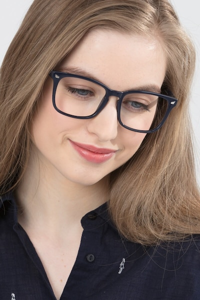 Uptown Navy Plastic Eyeglass Frames for Women from EyeBuyDirect, Front View