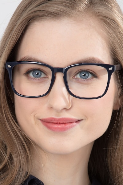 Uptown Navy Plastic Eyeglass Frames for Women from EyeBuyDirect