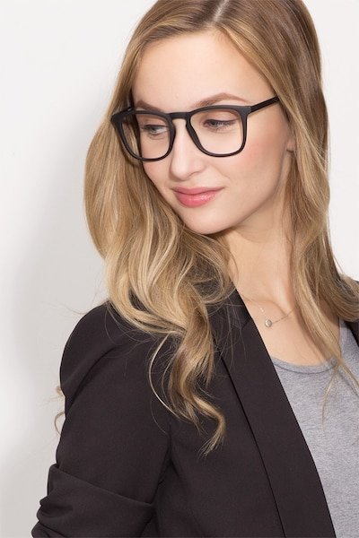 Central Matte Black Plastic Eyeglass Frames for Women from EyeBuyDirect, Front View