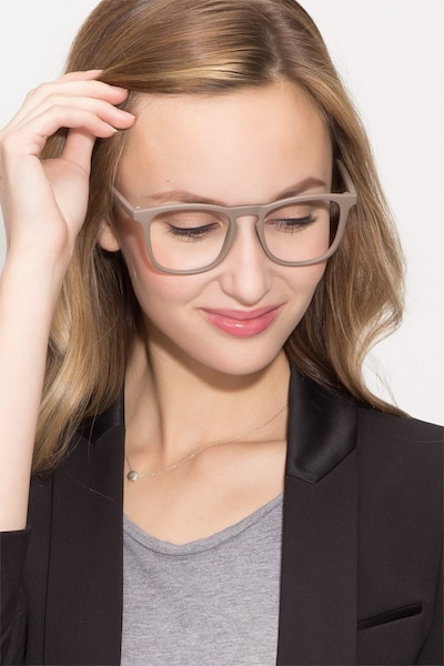 Central  Light Brown  Plastic Eyeglass Frames for Women from EyeBuyDirect, Front View