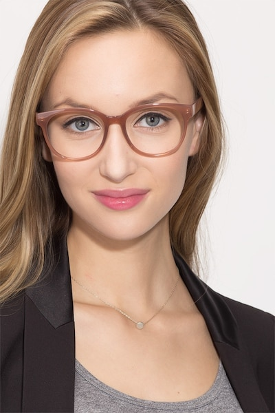 Grace Brown Plastic Eyeglass Frames for Women from EyeBuyDirect, Front View