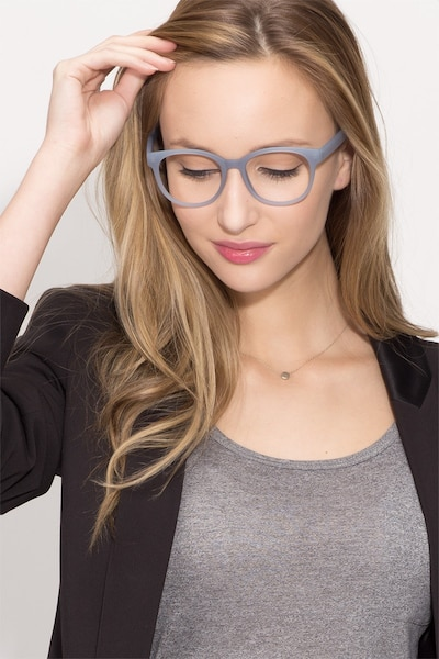 Grace Matte Blue Plastic Eyeglass Frames for Women from EyeBuyDirect, Front View