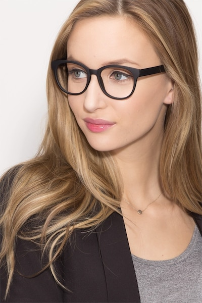 Grace Matte Black Plastic Eyeglass Frames for Women from EyeBuyDirect, Front View