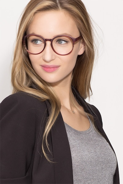 Delaware Matte Burgundy Plastic Eyeglass Frames for Women from EyeBuyDirect, Front View