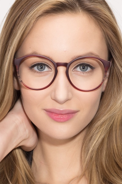 Delaware Matte Burgundy Plastic Eyeglass Frames for Women from EyeBuyDirect