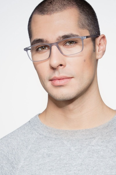 Sullivan Matte Gray Plastic Eyeglass Frames for Men from EyeBuyDirect, Front View