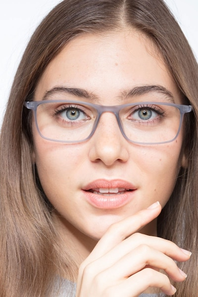 Sullivan Matte Gray Plastic Eyeglass Frames for Women from EyeBuyDirect