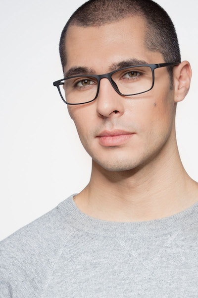 Sullivan Matte Black Plastic Eyeglass Frames for Men from EyeBuyDirect, Front View