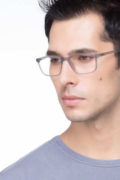 Wyoming Matte Gray Plastic Eyeglass Frames for Men from EyeBuyDirect, Front View
