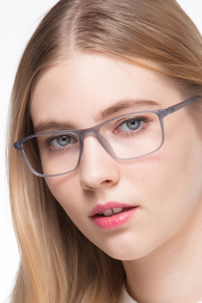 Wyoming Matte Gray Plastic Eyeglass Frames for Women from EyeBuyDirect
