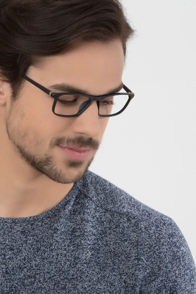 Wyoming Matte Black Plastic Eyeglass Frames for Men from EyeBuyDirect, Front View
