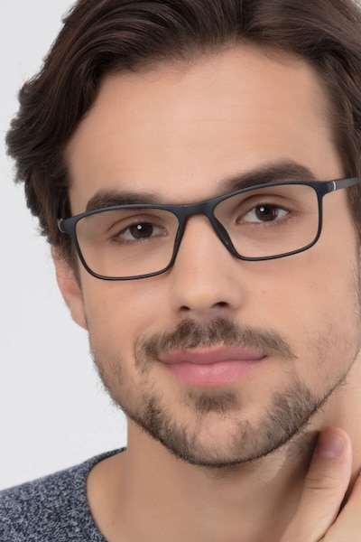 Wyoming Matte Black Plastic Eyeglass Frames for Men from EyeBuyDirect
