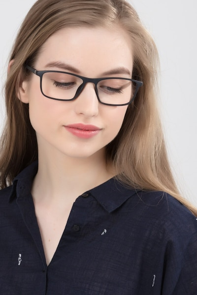 Wyoming Matte Black Plastic Eyeglass Frames for Women from EyeBuyDirect, Front View