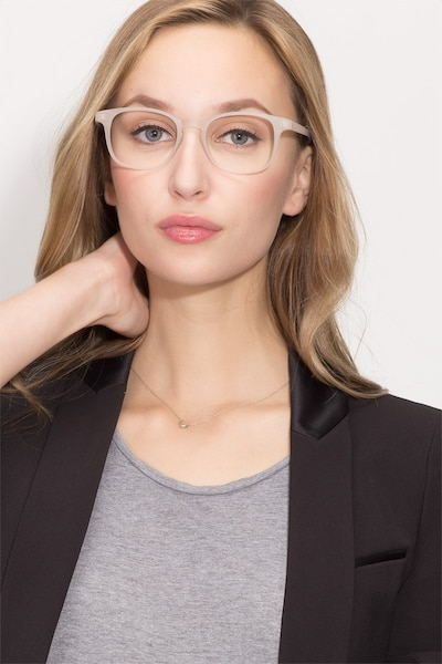 Monday Matte White Plastic Eyeglass Frames for Women from EyeBuyDirect, Front View