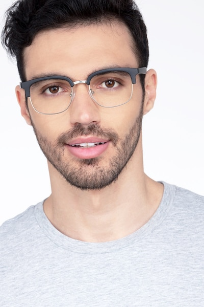 Yokote Matte Black Metal Eyeglass Frames for Men from EyeBuyDirect, Front View