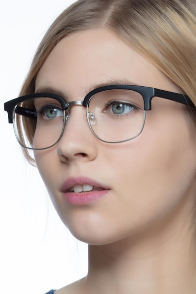 Yokote Matte Black Metal Eyeglass Frames for Women from EyeBuyDirect