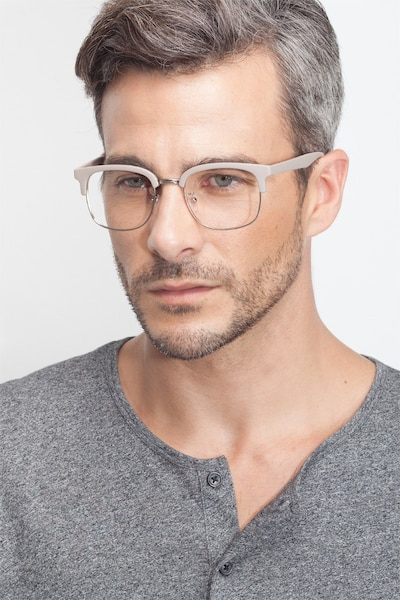 Yokote Gray Metal Eyeglass Frames for Men from EyeBuyDirect, Front View