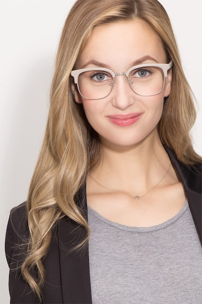 Yokote Gray Metal Eyeglass Frames for Women from EyeBuyDirect